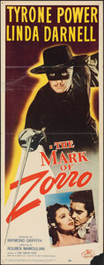 "Movie Posters:Swashbuckler, The Mark of Zorro (20th Century Fox, R-1958). Folded, Fine+. Insert (14"" X 36""). Swashbuckler.. ..."