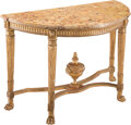 Furniture, A French Louis XVI Carved Giltwood Console Table with a Breche d'Alep Mable Top, late 18th century. 32-1/2 x 49 x 22-1/2 inc...