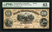Coatesville, PA- Bank of Chester Valley $20 18__ G12a Proof PMG Choice Uncirculated 63, POCs