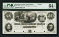 Obsoletes By State:Pennsylvania, Norristown, PA- Bank of Montgomery County $20 18__ G48 Proof PMG Choice Uncirculated 64 EPQ, POCs.. ...
