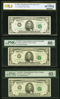 Fr. 1972-J $5 1969C Federal Reserve Note. PCGS Banknote Gem Unc 65 PPQ; Fr. 1975-D; G $5 1977A Federal Reserve Notes. PM...