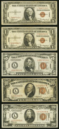 Small Size:World War II Emergency Notes, Fr. 2300 $1 1935A Hawaii Silver Certificates. Two Examples. Very Fine;. Fr. 2302 $5 1934A Hawaii Federal Reserve Note. Ext... (Total: 5 notes)