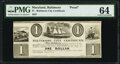 Baltimore, MD- Baltimore City Certificate $1 May 16, 1837 Proof PMG Choice Uncirculated 64