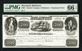 Obsoletes By State:Maryland, Baltimore, MD- Atlantic Company of Baltimore $500 18__ Post Note Shank 5.4.9 Proprietary Proof PMG Gem Uncirculated 66 EPQ...