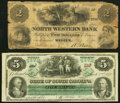 Obsoletes By State:Pennsylvania, Warren, PA- North Western Bank $2 circa 1860 Good;. Columbia, SC- State of South Carolina $5 Mar. 2, 1872 Crisp Un... (Total: 2 notes)