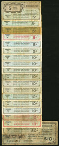 Series 461 5¢ (5); 10¢ (9); 50¢; $10 Very Good or Better; Series 471 5¢; 10¢ (2) Very Good or B...