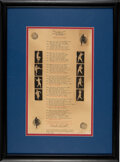 Baseball Collectibles:Others, 1938 Babe Ruth Signed Poem....