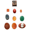 Estate Jewelry:Unmounted Gemstones, Glass, Stone, Intaglios and Cameo. ... (Total: 10 Items)