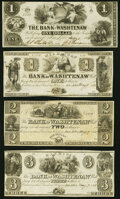 Obsoletes By State:Michigan, Ann Arbor, MI- Bank of Washtenaw $1 (2); $2; $3 1835-54 Remainders About Uncirculated or Better.. ... (Total: 4 notes)