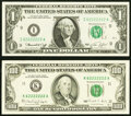 Small Size:Federal Reserve Notes, Matching Seven of a Kind Serial Numbers 62222222.. Fr. 1908-I $1 1974 Federal Reserve Note. Choice CU;. Fr. 2173-K $10... (Total: 2 notes)