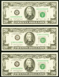 Small Size:Federal Reserve Notes, Three Palindrome $20 1990 Federal Reserve Notes. . Radar 54555545 Fr. 2077-B Gem CU;. Radar 55111155 Fr. 2077-G Very C... (Total: 3 notes)