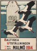 "Movie Posters:Miscellaneous, The Baltic Exhibition (Malmo Konsthall, 1914). Fine on European Linen. Swedish Poster (28.5"" X 38.75"") E. Norlind Artwork. M..."