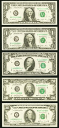 Small Size:Federal Reserve Notes, Seven of a Kind Federal Reserve Notes. Choice Crisp Uncirculated.. Fr. 1915-G (2) $1 1988A;. Fr. 2077-B $20 1990;. ... (Total: 5 notes)