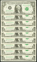 Nine Near Solid Serial Number Fr. 1915-B $1 1988A Federal Reserve Notes. Choice Crisp Uncirculated. ... (Total: 9 notes)