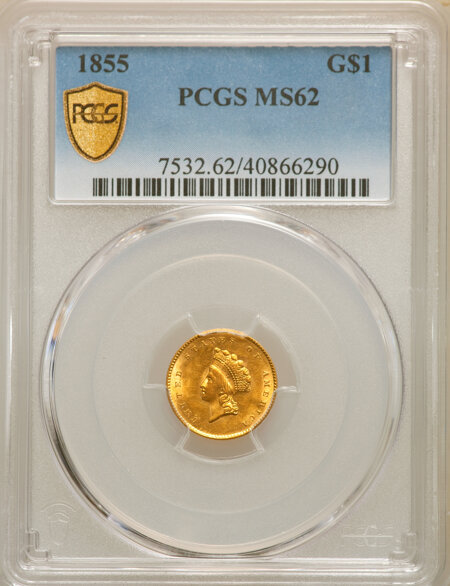1855 G$1 Type 2, MS PCGS Secure 62 PCGS