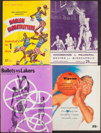1957-65 NBA & Harlem Globetrotters Significant Game Programs Lot of 4