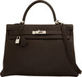 """Luxury Accessories:Bags, Hermès 35cm Cafe Togo Leather Retourne Kelly Bag with Palladium Hardware. G Square, 2003. Condition: 4. 14"""" Length..."""