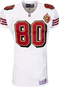 Football Collectibles:Uniforms, 1996 Jerry Rice Pre-Season Game Worn & Unwashed San Francisco 49ers Jersey with Golden Anniversary Patch - Worn 8/10 vs. the C...