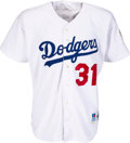 Baseball Collectibles:Uniforms, 1997 Mike Piazza Game Worn Los Angeles Dodgers Jersey....