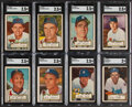 Baseball Cards:Lots, 1952 Topps Baseball SGC Graded Lot of 8 - With 7 High Number Cards!...
