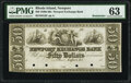 Obsoletes By State:Rhode Island, Newport, RI- Newport Exchange Bank $50 18__ G20 Remainder PMG Choice Uncirculated 63.. ...