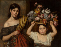 Elizabeth Emma Soyer, née Jones (British, 1813-1842) Two young children with a basket of flowers, 1836<
