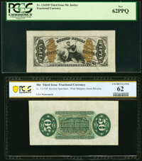Fr. 1343SP/1331SP 50¢ Third Issue Justice Wide Margin Pair PCGS New 62PPQ and PCGS Banknote Uncirculated 62. ... (T...