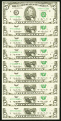 Seven of a Kind Fr. 1982-H $5 1993 Federal Reserve Note. Nine Examples Choice Crisp Uncirculated. ... (Total: 9 notes)