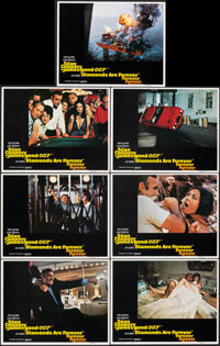 """Diamonds are Forever (United Artists, 1971). Very Fine. Lobby Cards (7) (11"""" X 14""""). James Bond. ... (Total: 7..."""