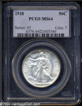Walking Liberty Half Dollars: , 1918 50C MS64 PCGS. A well struck and lustrous Choice ...