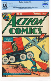 Action Comics #22 (DC, 1940) CBCS Conserved GD- 1.8 Off-white to white pages