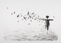 Pejac (b. 1977) Scattercrow, 2017 1 color hand pulled stone lithography on Hahnemühle 300grs paper 28-1/2 x 40-1/2...
