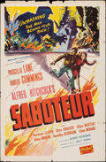 """Movie Posters:Hitchcock, Saboteur (Realart, R-1948). Folded, Fine. One Sheet (27"""" X 41""""). Hitchcock.. ..."""