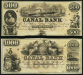 Obsoletes By State:Louisiana, New Orleans, LA- Canal Bank $500; $1,000 18__ Remainders Choice Crisp Uncirculated.. ... (Total: 2 notes)