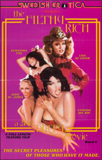 "The Filthy Rich: A 24 kt. Dirty Movie (Caballero Control, 1980). Folded, Very Fine+. One Sheet (23"" X 36""). Ad..."