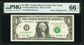 Small Size:Federal Reserve Notes, Radar Serial Number 66166166 Fr. 1926-B $1 2001 Federal Reserve Note. PMG Gem Uncirculated 66 EPQ.. ...