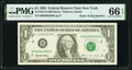 Small Size:Federal Reserve Notes, Radar Serial Number 66266266 Fr. 1921-B $1 1995 Federal Reserve Note. PMG Gem Uncirculated 66 EPQ.. ...