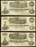 Confederate Notes:1862 Issues, T39 $100 1862 PF-4 (2); PF-5 Cr. 293 (2); Cr. 291 Very Fine or Better.. ... (Total: 3 notes)