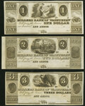 Obsoletes By State:Michigan, Ann Arbor, MI- Millers Bank of Washtenaw $1; $2; $3 18__ Remainders Crisp Uncirculated.. ... (Total: 3 notes)