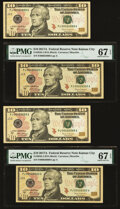 Small Size:Federal Reserve Notes, Two Fr. 2045-J $10 2017A Federal Reserve Note Rollover Pairs.. Serial 00024999 Gem CU;. Serial 00025000 PMG Superb Gem... (Total: 4 notes)