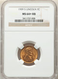 Lincoln Cents, 1909-S 1C MS64+ Red and Brown NGC. NGC Census: (290/171 and 1/3+). PCGS Population: (713/352 and 6/5+). CDN: $400 Whsle. Bi...