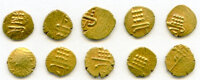 India: Cochin 10-Piece Lot of Uncertified Assorted gold Fanams ND (17th-18th Century) XF,... (Total: 10 coins)