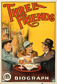 "Three Friends (Biograph Studios, 1913). Flat Folded, Fine+. One Sheet (28"" X 41"")"