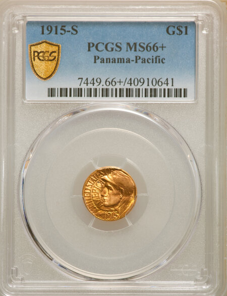 1915-S G$1 PAN-PAC Gold Dollar, MS PCGS Secure PCGS Plus 66 PCGS