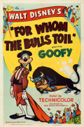 "Movie Posters:Animation, Goofy in For Whom the Bulls Toil (RKO, 1953). Folded, Very Fine-. One Sheet (27"" X 41"").. ..."
