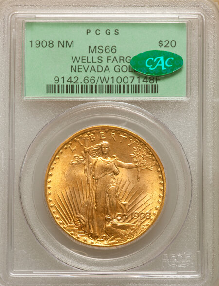 1908 $20 NO MOTTO CAC 66 PCGS