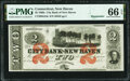 New Haven, CT- City Bank of New Haven $2 Feb. 1, 1865 Remainder G12c PMG Gem Uncirculated 66 EPQ