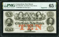 Obsoletes By State:Connecticut, New Haven, CT- City Bank of New Haven $10 18__ Remainder G68b PMG Gem Uncirculated 65 EPQ.. ...