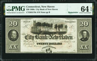 New Haven, CT- City Bank of New Haven $20 18__ Remainder G76c PMG Choice Uncirculated 64 EPQ
