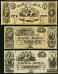 Obsoletes By State:Louisiana, New Orleans, LA- Canal Bank $5; $10; $20 18__ Remainders Crisp Uncirculated or Better.. ... (Total: 3 notes)